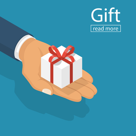 Gift white box with red ribbon and bow in hands of men. Holding in palms gift-box. Vector illustration isometric flat design. Giving, receiving surprise. Isolated on background. 3d surprise. Illustration
