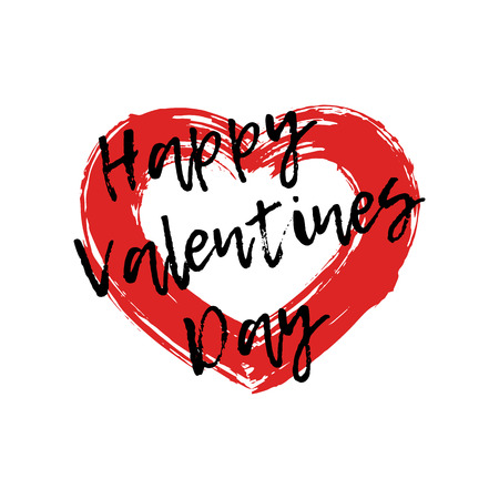 Drawing red heart painted brush strokes with an text. Symbol love. Valentines Day, element design cards, congratulations, recognition. Vector grunge style. Isolated on white background.