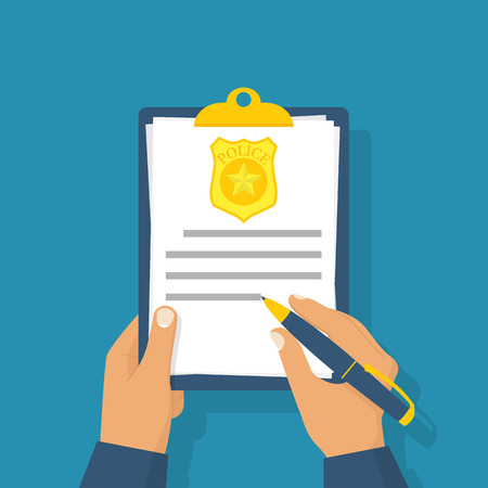 Police officer write report about violation. Fined. The cop holding clipboard in hand, pen signing document. Vector illustration flat design. Isolated on background.