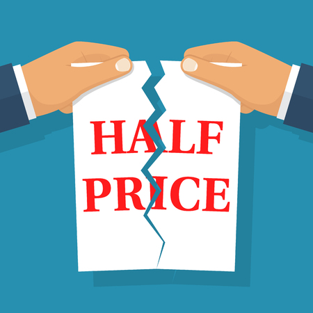 Half price sale concept. Male two hands tearing paper. Vector illustration flat design. Isolated on background. Illustration