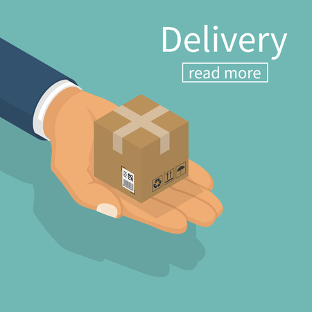 Delivery isometric. Vector illustration flat design. Shipping service concept. Courier delivered a package, hold in hand. Give cardboard box. Fast delivery goods.