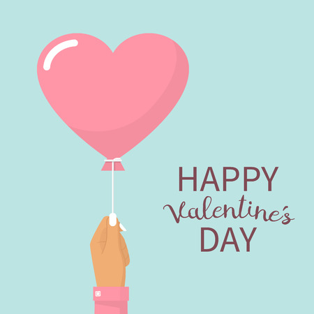 Happy Valentines Day card. A girl holding a balloon in the form of heart. Vector illustration flat design.