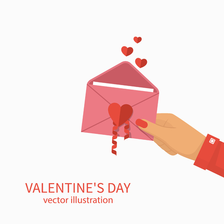 Happy Valentines Day. Woman holds an open envelope with heart in the hand. Vector illustration flat design.