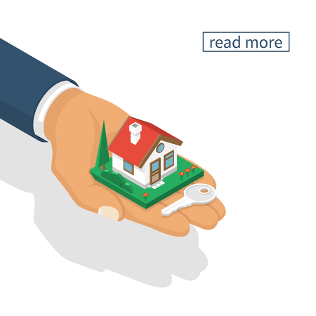 give: Hand giving house keys isometric design, isolated on white background. Vector illustration flat style.