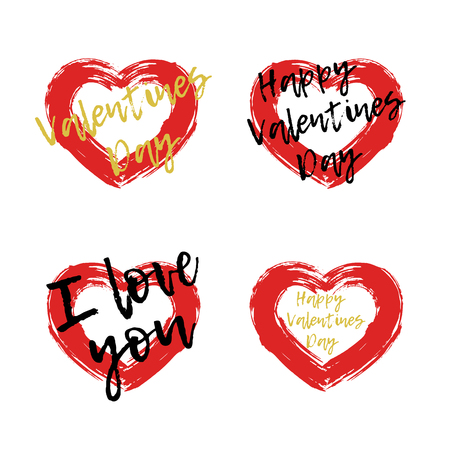 Drawing red heart set painted brush strokes with an text. Symbol love.