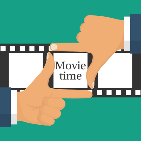 Video filming concept. Movie time isolated. Coming soon template. Gesture male hand frame on the filmstrip background. Illustration