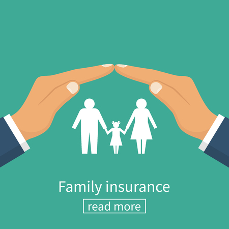 Family insurance. Protection concept. Insurance agent gesture hand protects the family. Vector illustration flat design.
