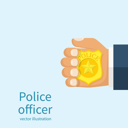 Police officer holds badge in hand. Cop introduced. Vector illustration flat design. Isolated on white background. Ilustração