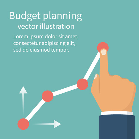 marginal: Budget planning concept. Tablet with business chart. Financial diagram. Profit growth, investment. Vector illustration flat design. Isolated on background.