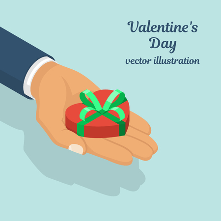 Gift heart on Valentines Day isometric Stock Photo