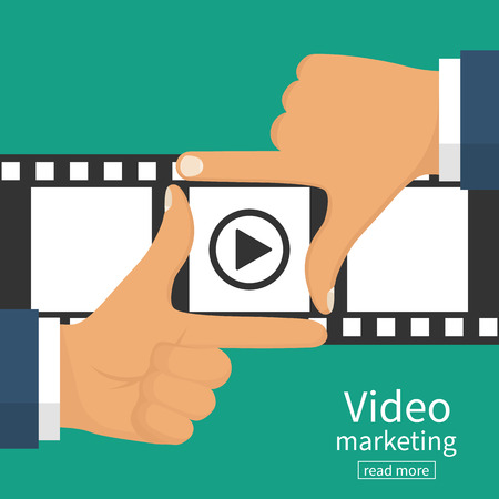 Video marketing concept. Video filming isolated. Movie time. Presentation advertise, blogging, streaming, television, share content. Coming soon. Hand frame on filmstrip background. Vector flat design