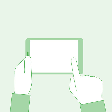 Man holding tablet in hands. Blank touchscreen. Finger touches screen. Banner web, mobile app. Vector illustration flat minimal design. Stock Photo