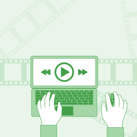 Man watching a video on a laptop. Streaming concept. Video player on display. Background for web and mobile applications. Hands on keyboard and mouse isolated. Vector illustration flat minimal design.