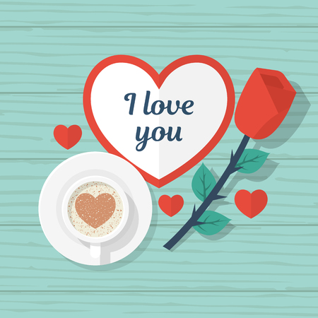 Happy Valentines Day. Top view on wooden table with red rose, a cup of coffee and valentine with space for text. Red heart. Vector illustration flat design.