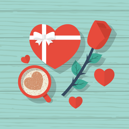 Happy Valentines Day. Top view on wooden table with red rose, a cup of coffee with a heart gift with ribbon and bow. Vector illustration flat design.