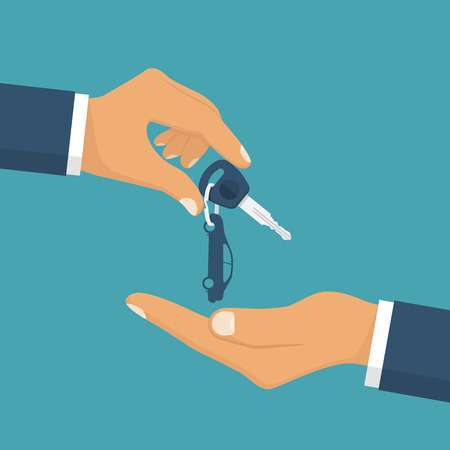 Give the car key. Take auto key.  Buy, rent a vehicle.