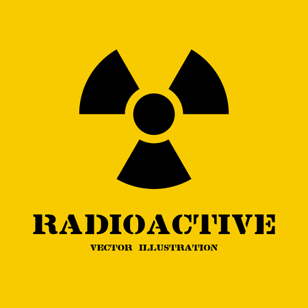 radioactive symbol: Radioactive symbol isolated on yellow background. Radiation sign for websites and print. Illustration