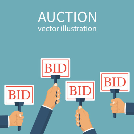 Bid sign in hand of people. Auction meeting. Business bidding process concept. Vector illustration flat design. Isolated on background. Template for open trade. Many offers good prices. Competition. Stock Photo