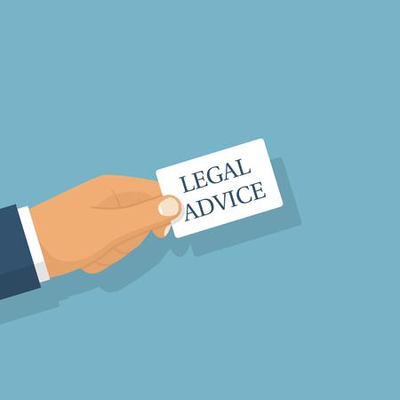 Conseils juridiques. Un homme tenant une carte avec le texte en main. Vector illustration design plat. Isolé sur fond blanc. Assistance légale. Consultant.