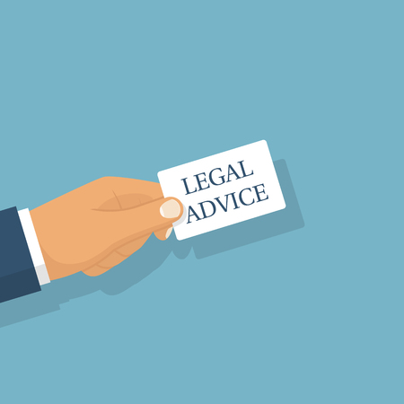 Legal advice. A man holding a card with text in hand. Vector illustration flat design. Isolated on white background. Legal assistance. Consultant.