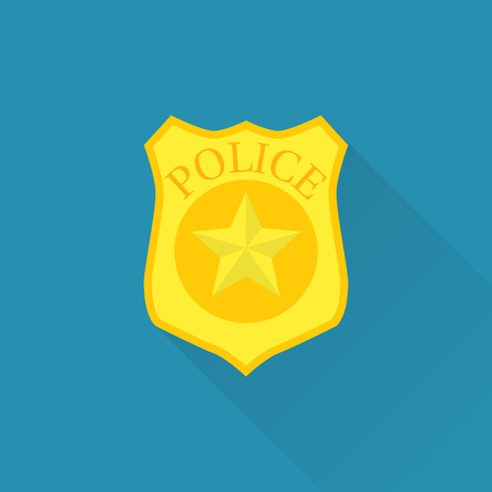 Police badge icon. Vector illustration flat design. Isolated on blue background with long shadow. Sign cop. Symbol protect. Emblem sheriff.