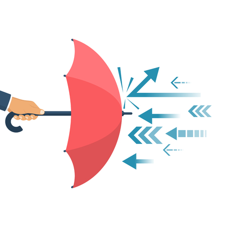Protected from attack, concept. Defender business metaphor. Financial security. Businessman is holding an umbrella as a shield reflecting the attacks. Stock Illustratie