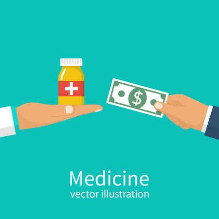 Buy medicine. Doctor holding bottle of pills to a patient. Money in hand in exchange for tablets. Sell medical pills. Pharmacy shop. Vector illustration flat design. Isolated on background.