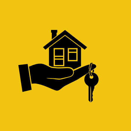 House key in hand icon. Real estate agent holds the key from home. Concept of selling, renting template. Vector illustration flat design. Silhouette, pictogram. Giving keys.