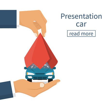 Presentation car. Auto covered red silk. Vehicle hold palm hand. Man hand take off cloth with vehicle. Vectores