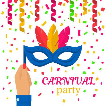 Carnival mask in hand Illustration