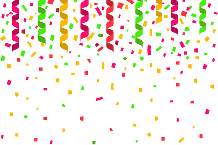 party streamers: Celebration party background with place for text. Colorful ribbon confetti and streamers. Vector illustration flat design. Holiday decoration. Illustration