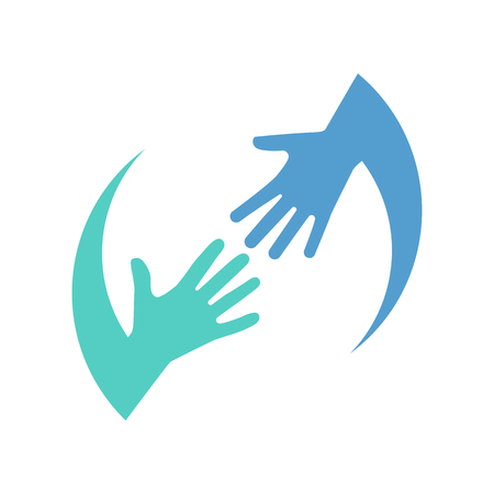 Helping logo hands color icon isolated on white background. Charity support. Caring people. Hope symbol. Vector illustration flat style. Template design. Teamwork, partnership concept. 矢量图像