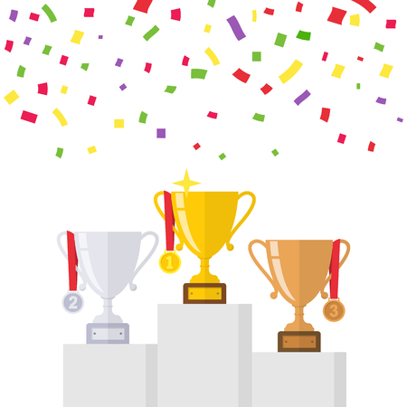 Winners podium from gold, silver, bronze trophy cup. Isolated on white background with colorful confetti. Template championship in sport and business concept.  First place award. Achievements prize.