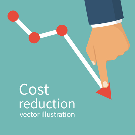 lowers: Cost reduction concept. Cost down. Businessman with his hand lowers the arrow of the graph. Vector illustration flat design. Isolated on background. Decrease down profit. Declining chart.