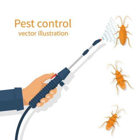 pest control: Pest control banner concept. Man exterminator holds a sprayer in hands spraying pesticide. Destruction bug. Service to protect the house. Vector illustration flat design. Isolated on white background.