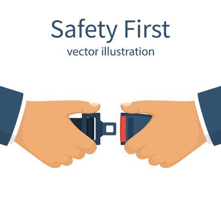 Seat Belt. Safety First concept. A man fasten buckle hands. Safety of movement on car, airplane. Vector illustration flat design. Isolated on white background. Protection driver and passengers. Reklamní fotografie - 74368936