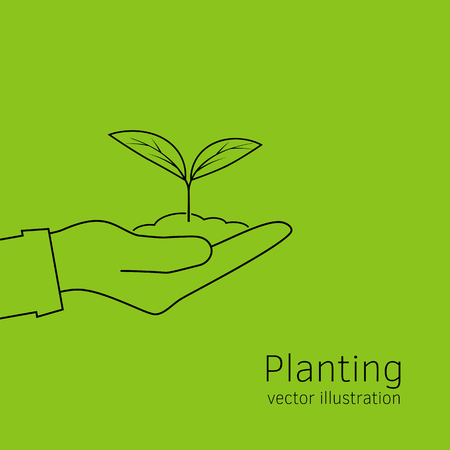 Planting sapling isolated icon line on green background. Man farmer, gardener hold sprout in hand. Care and environmental development template. Ecology concept. Vector illustration. Illustration