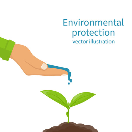 Environmental protection concept. Watering, fertilizer young sapling falling drop of water isolated. Plant sprout. Water in hand of man. Vector illustration flat design. Isolated on white background. Illustration