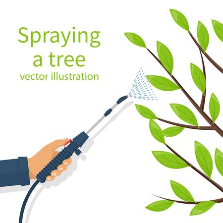 Sproeiend pesticide. Verwerking van bomen. Insecticide. Boer-verdelger houdt spuitmeststof in de hand. Vector plat ontwerp. Geïsoleerd op witte achtergrond Chemicaliën in de tuin. Bladverliezende takken. Stock Illustratie
