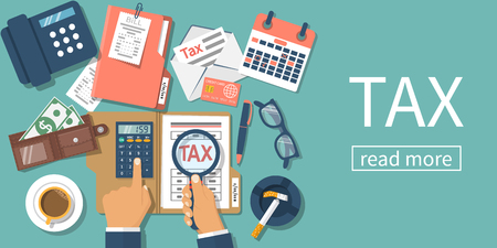 Tax payment. Data analysis, paperwork, financial research, report. Businessman calculation tax. Flat design vector illustration. Form pay ment of debt. Calculation return. Magnifying glass in hand.