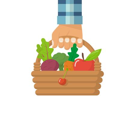 Man fermer hold basket vegetables Illustration