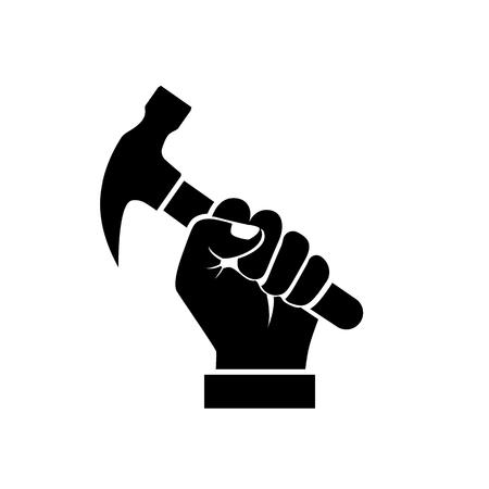 ハンマーのシルエットを持っている手  イラスト・ベクター素材