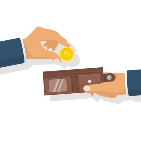 billfold: Money in hand. Putting