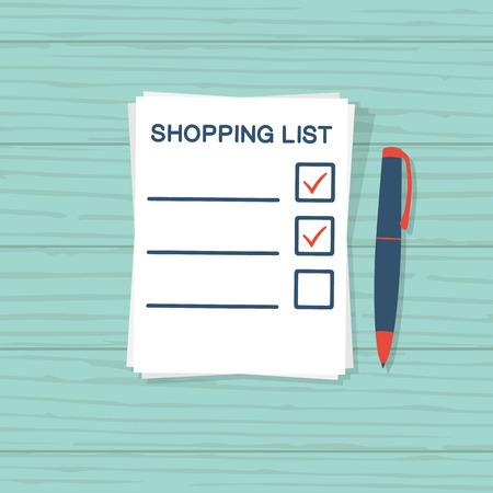 mujer en el supermercado: Paper sheet with shopping list
