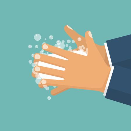 Laver les mains. Homme, tenue, savon, main Vecteurs