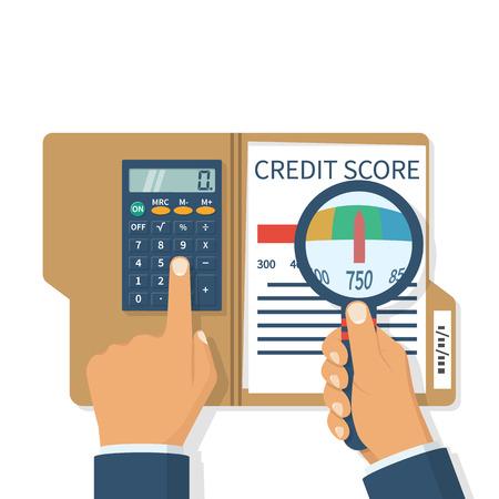 hand holding paper: Credit score, gauge