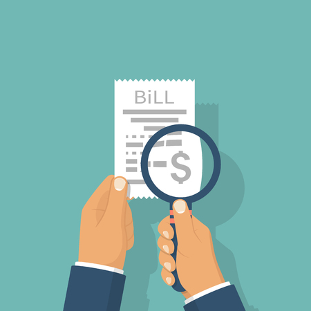 medical bill: Man is studying paying bill. Illustration