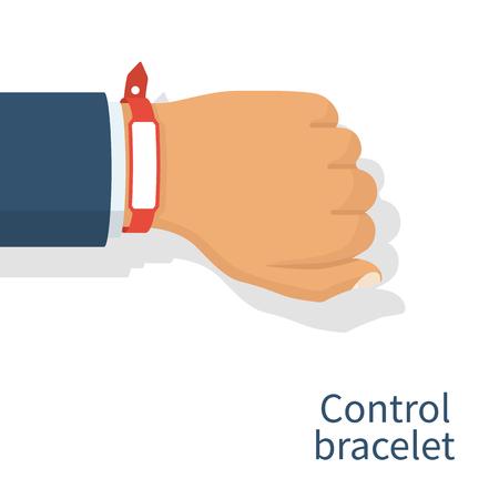 wristband: Red wristband on hand man