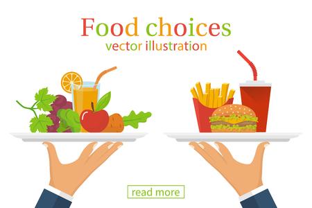 Etenkeuze. Gezond en junk eten.