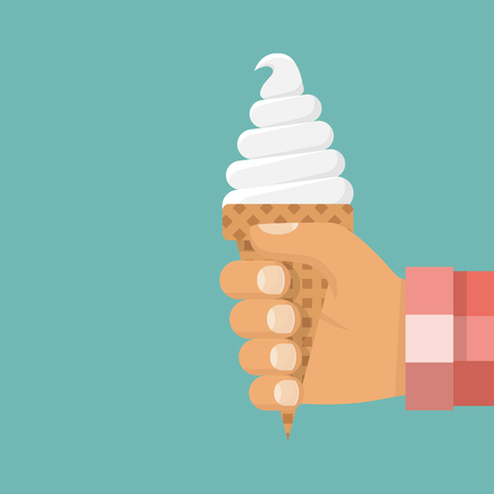 Ice cream cone holding in hand human. 向量圖像